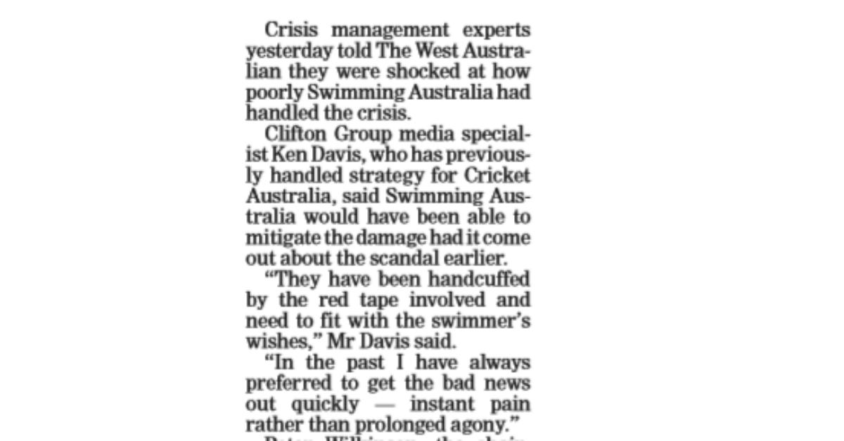 Swimming Australia CEO in train-wreck TV interview